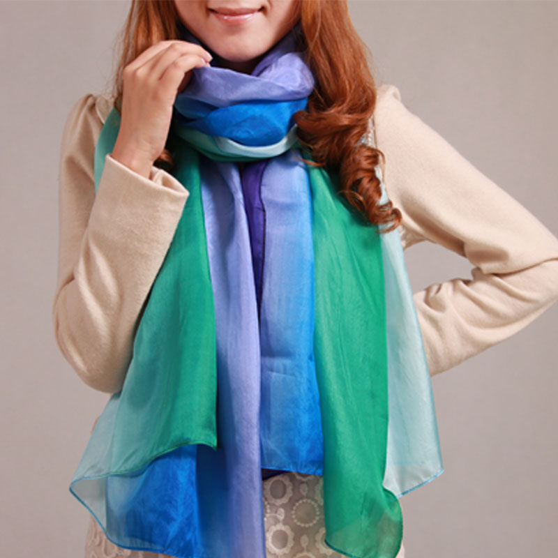 Girls scarf pure silk mulberry silk gradient color block ultra long silk scarf cape(China (Mainland))