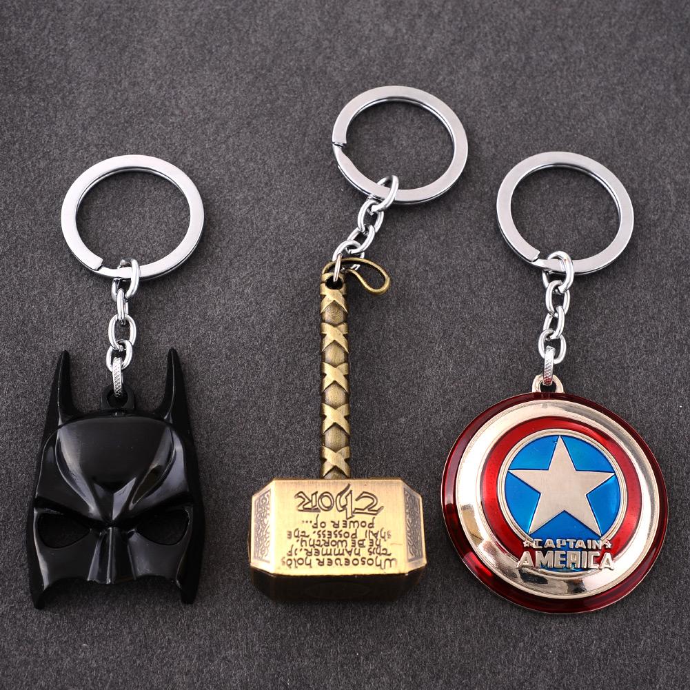 New Hero The Avengers Marvel Character Captain America Hulk Batman Mask KeyChain Keyrings Key Chain<br><br>Aliexpress