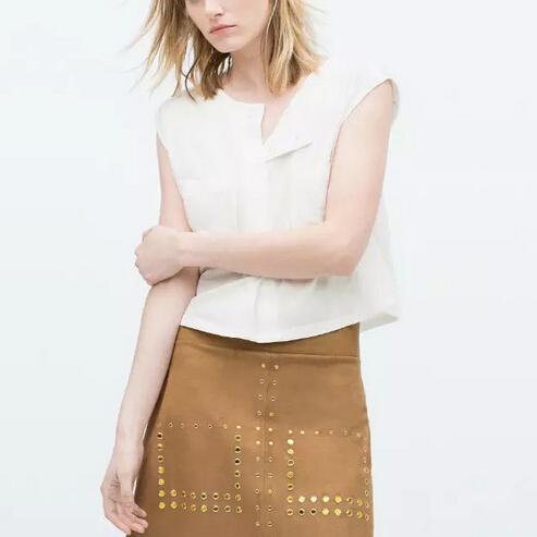 Women basic white blouses blusa feminina O neck sleeveless pockets shirts European Tees casual office wear top transparent WT175(China (Mainland))