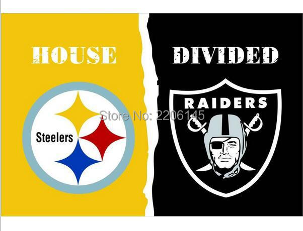 3X5 FT Pittsburgh Steelers VS Oakland Raiders flag 100D polyester digital printed banner with metal Grommets(China (Mainland))