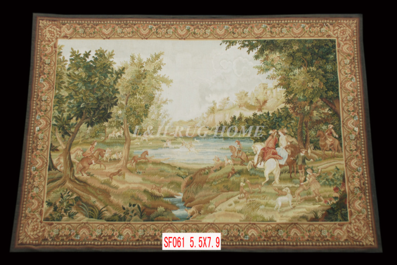 Free Shipping 5.5'X7.9' Handmade wool aubusson tapestry gobelin carpet, wall hanging tapestry wool tapestry paintings(China (Mainland))