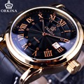 Orkina Classic Roman Series Calendar Display Golden Case Genuine Leather Strap Clock Mens Watches Top Brand