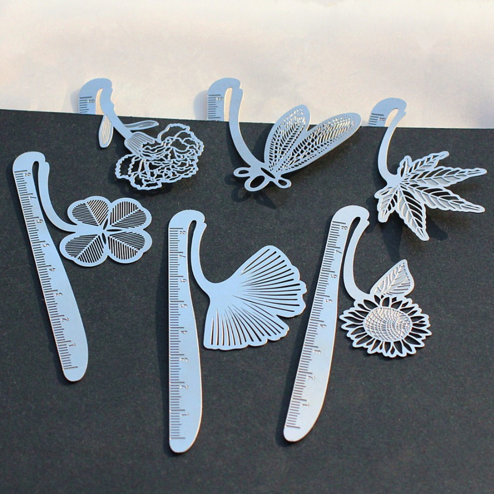 Creative Cute Metal stainless steel Hollow Bookmark ruler Dragonfly Book Holder for Book Paper Creative Gift Korean Stationery(China (Mainland))