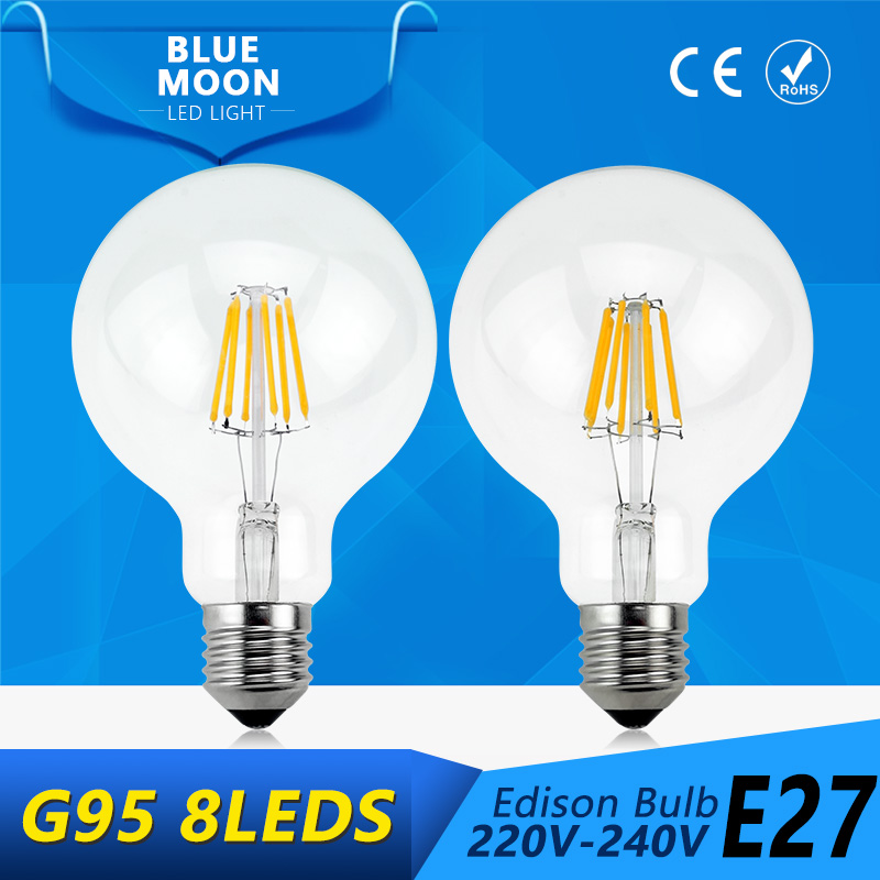 New Tanbaby G95 E27 Led filament lamp clear grass edison light bulb 2W 4W 6W 8W indoor led lighting 220v 240V filament lamp(China (Mainland))