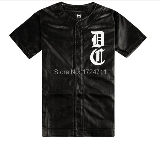 Hot,2015 men`s fashion brand faux leather baseball jerseys pu t shirts short sleeve(China (Mainland))