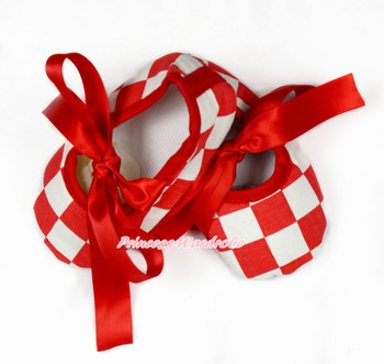 Red White Checked Crib Shoes With Red Ribbon MAS609