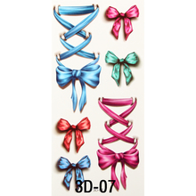Nice 3D Body Art Sleeve Arm Hand Stickers Glitter Temporary Flash Tattoos Small Fake Bowknot Bows Waterproof For Body Painting