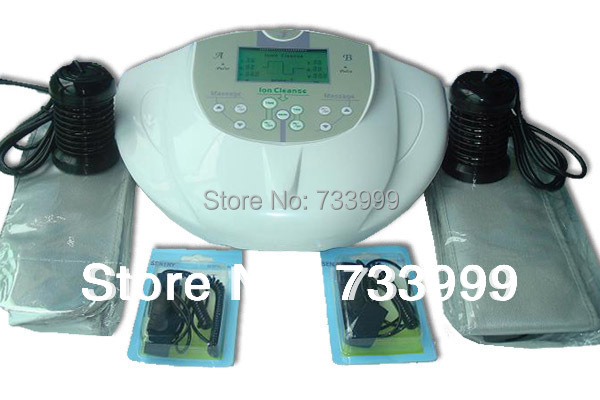 DUAL ION DETOX FOOT BATH IONIC CLEANSE SPA MACHINE+INFRARED RAY BELT WITH TWO PERSON ionic detox through feet,aqua chi(China (Mainland))