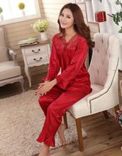 Faux silk mens pajama sets men sleepwear male sleep&lounge Chinese red wedding Pijamas for women couple pajamas female pyjamas (China (Mainland))