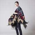womens winter cloaks 2016 fashion warm scarf geometric pattern tassel ladies pashmina top quality free size