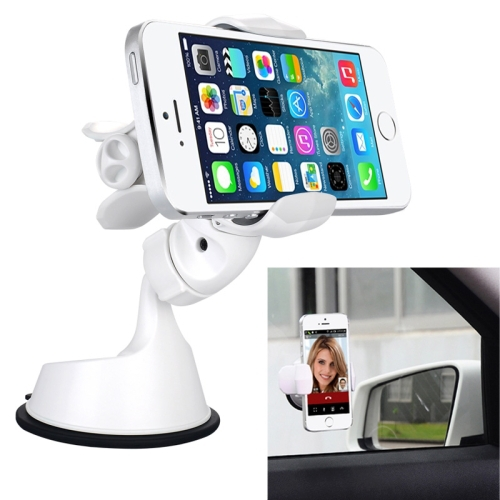 White Style 360 Degree Rotation Suction Cup Car Holder / Desktop Stand Mount for iPhone and Other Mobile Phones / MP4 / PDA(China (Mainland))