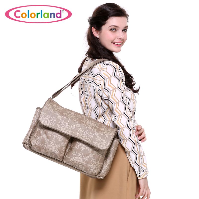 Fashion Large capacity flower printing waterproof Nappy bag maternity Nursing baby bag Mothers insulating shoulder bag 36*28cm(China (Mainland))