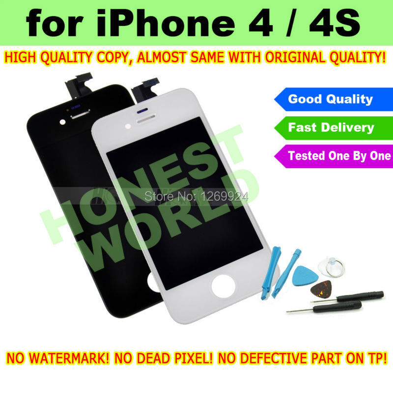 BLACK White New High Quality LCD Display Touch Screen Digitizer For iPhone 4 4G 4S Replacement NO DEAD PIXEL + Repair Tool Kit(China (Mainland))