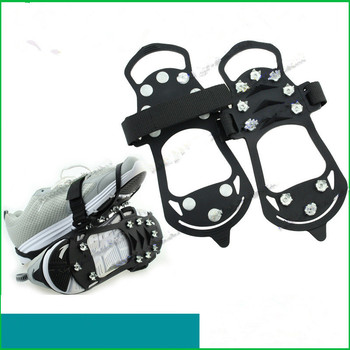 Outdoor 10 Nails Anti Slip Ice Gripper M Size ice Crampons Snow Anti Skid Ice Shoes Spikes Silicone Shoe Covers For Old And Kids