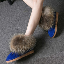 Женские ботинки из натуральной кожи с натуральным лисьим мехом; брендовая зимняя обувь; Теплые повседневные черные женские зимние ботинки ...(China)