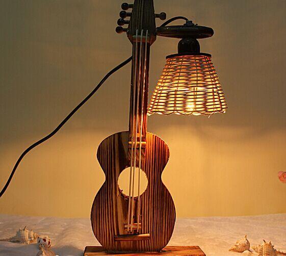 2015 1pccreative retro rustic wood guitar bedside lamp table lamp bedroom lam. Black Bedroom Furniture Sets. Home Design Ideas