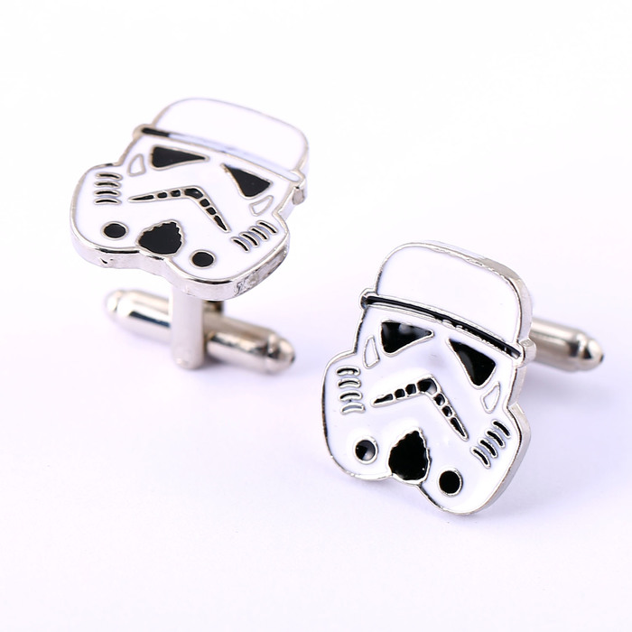 Star Wars Cufflinks Empire Imperial Stormtrooper Enamel Mask Shirt Brand Cuff Buttons Silver Plated Cuff Links Jewelry EF-99(China (Mainland))