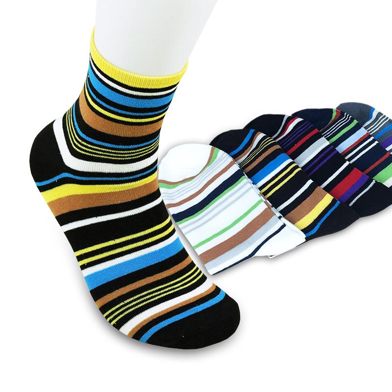 US Seller Brand New Autumn 100% Cotton Elegant Stripe Multicolour Mens Socks Sports Man Sock 5 Pairs/lot 6115-1001 Fast Delivery(China (Mainland))