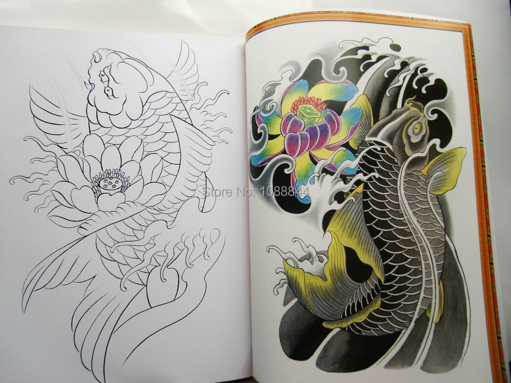 Wholesale wholesale china 2015 tattoo flsh book skull koi for Japanese koi fish wholesale