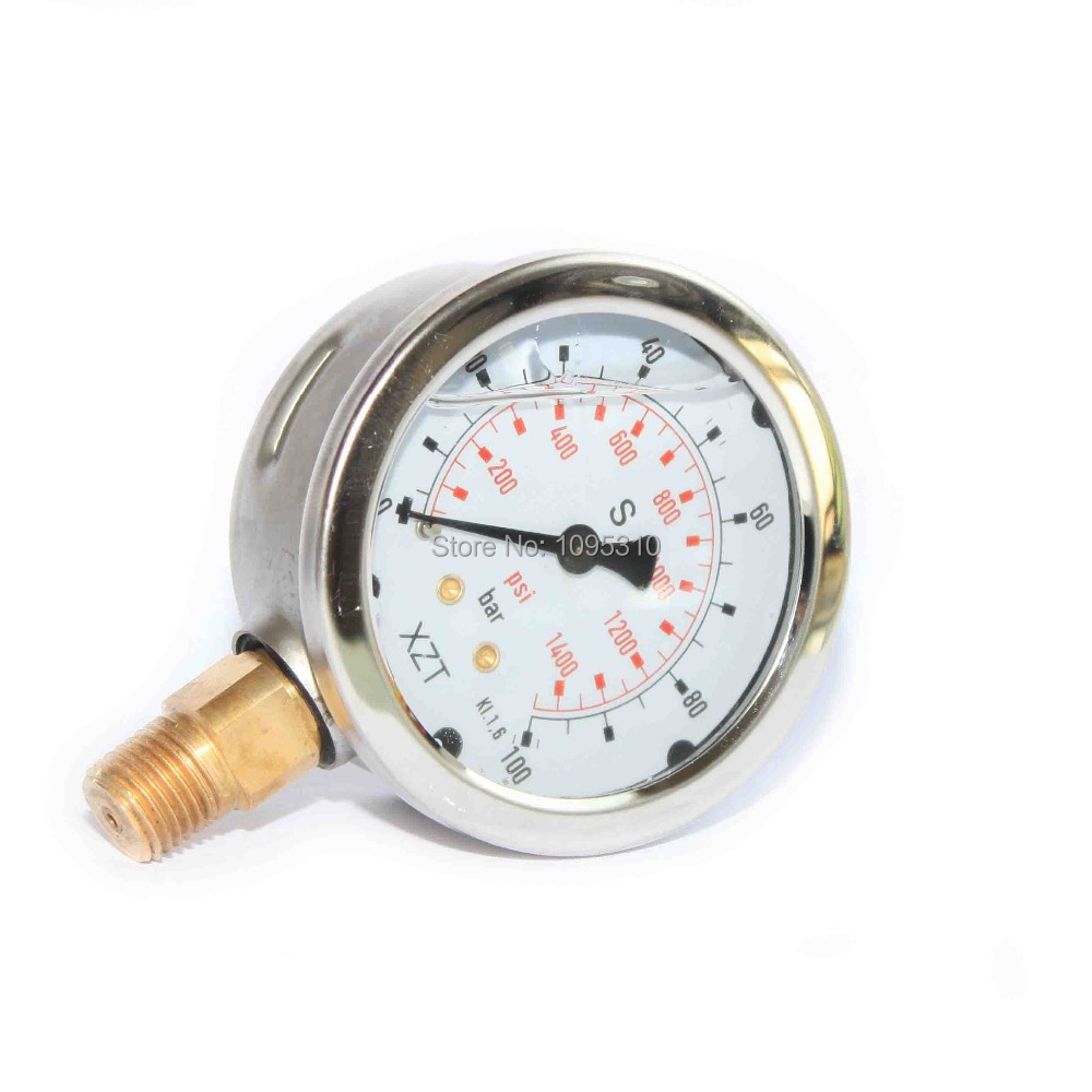 Free shipping!! Hydraulic Pressure Gauge 100BAR/1500PSI(NPT1/4)-63mm-Base Entry(China (Mainland))