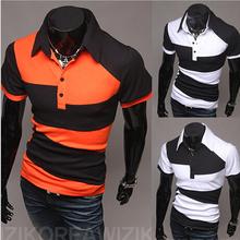 2015 Spring Casual Men's Clothing Short-Sleeved Men Sport Shirt Fitness for Man Camisetas Orange White Black Colors-MSH0057