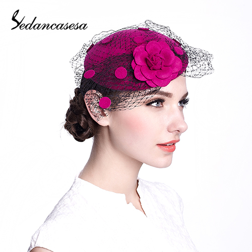 2015 wool retro hair accessories cap with flower and round base floral fashion fascinaotr with veil TS033015(China (Mainland))