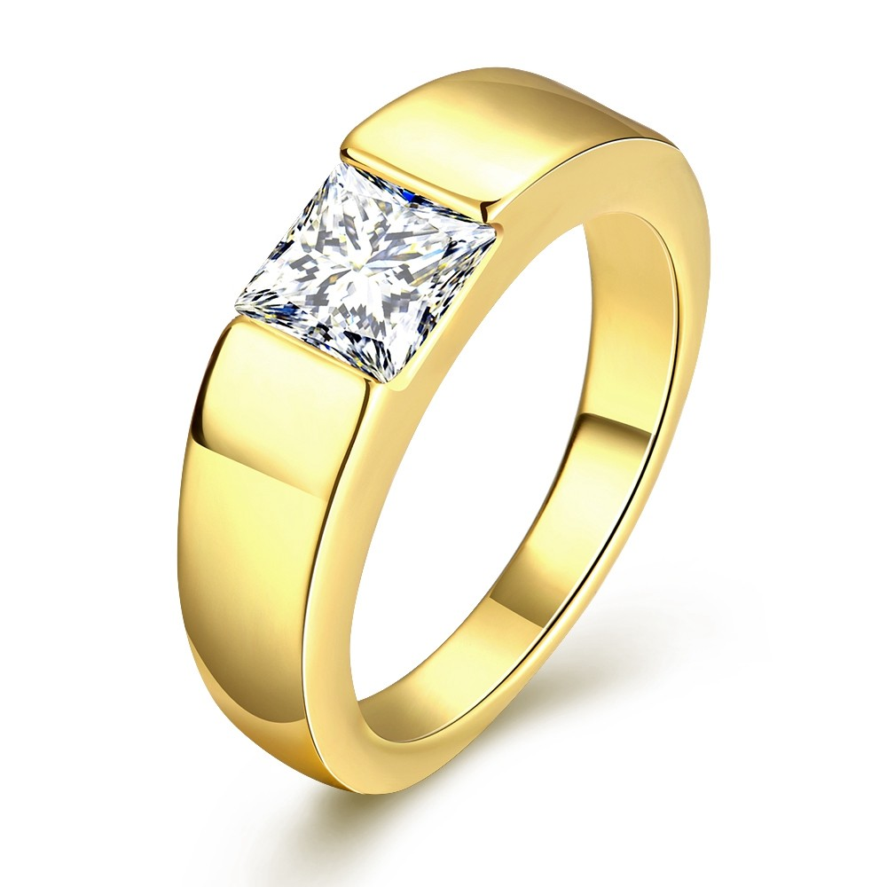 50 Off Gold Plated Ring Stone Men Cubic Zirconia Wedding