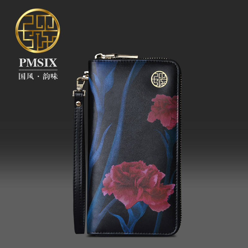 Pmsix Flower Printing Long Leather Wallet Cattle Split Leather Brand Cell Phone Wristlets For Women Zipper Clutch Wallet P420045(China (Mainland))