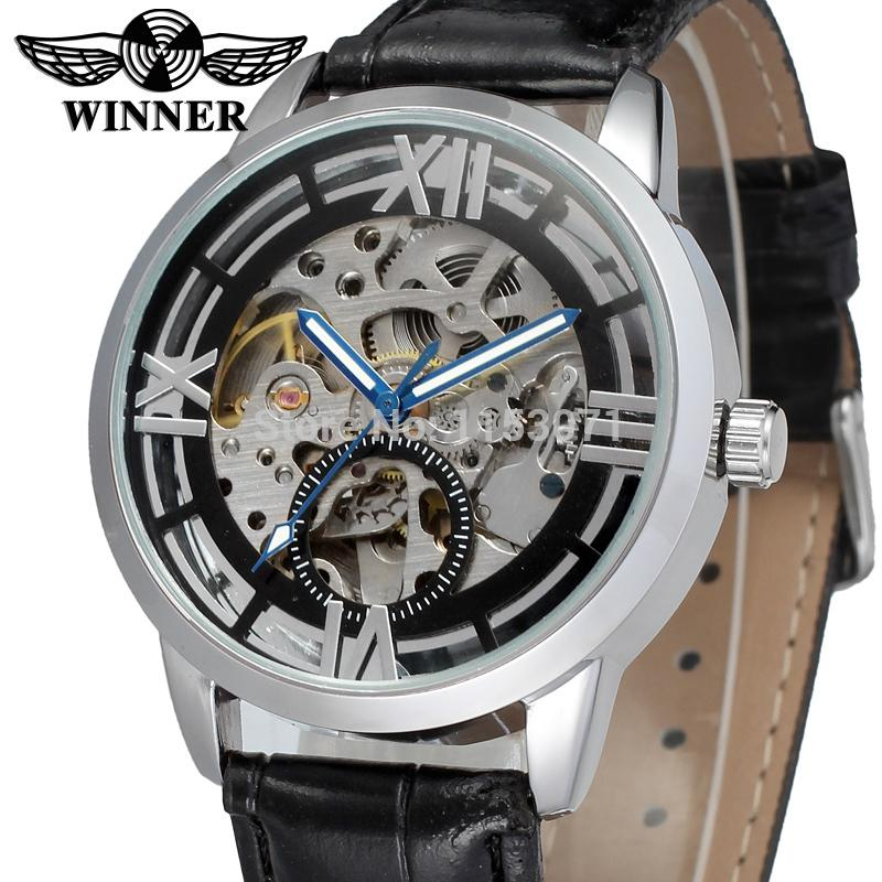 WRG8034M3S7 winner brand Automatic men silver color  skeleton watch free shipping best pric  with black leather band wristwatch<br><br>Aliexpress