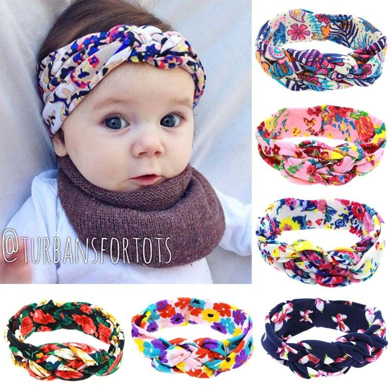 1 pc Lovely Floral Headband Baby Girl Twist Hairband Kids Elastic Flowers Head(China (Mainland))