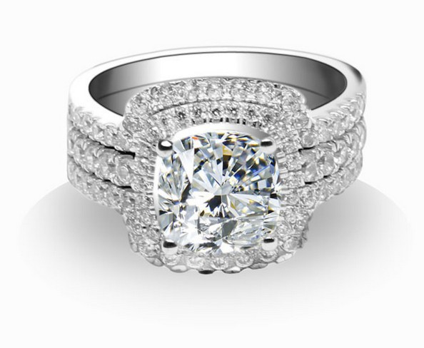 bridal sets synthetic diamond engagement wedding rings for women ring