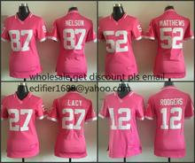 100% Stitiched,women,pink,Green Bay Packers,Aaron Rodgers,eddie lacy,Randall Cobb,Ha Clinton-Dix,Clay Matthews,Brett Favre(China (Mainland))