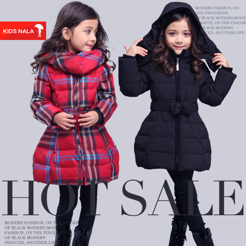 Girls Russia Winter down jacket for girls 4-16 years kids thick white duck warm long coat children plaid outerwear clothes<br><br>Aliexpress