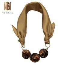 [YY NOW] Soft Comfort Warm Necklace Fashion Style Shiny Balls Pendant Necklace 2016 New Brand Designer Scarf Necklace For Women(China (Mainland))