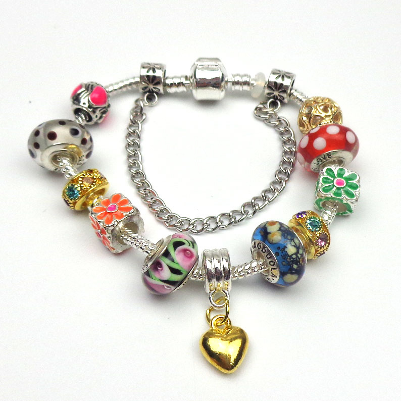 New! Fashion jewelry European Charm Glass Beads with Gold plating heart/Daisies Silver Bracelet for Women(China (Mainland))