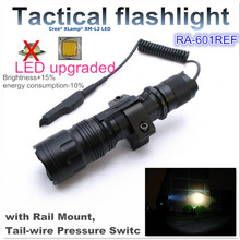 RA-601REF[TTWS]  CREE XM-L2 U2 COOL WARM WHITE torch Tactical Flashlight light 18650,with Rail Mount,Tail-wire Pressure Switch(China (Mainland))