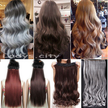 "Big Discount! 29"" (73cm) Curly/Wavy Long Women lady Clip in Hair Extensions 100% Real As Natural Hair Extentions New Gray Brown(China (Mainland))"