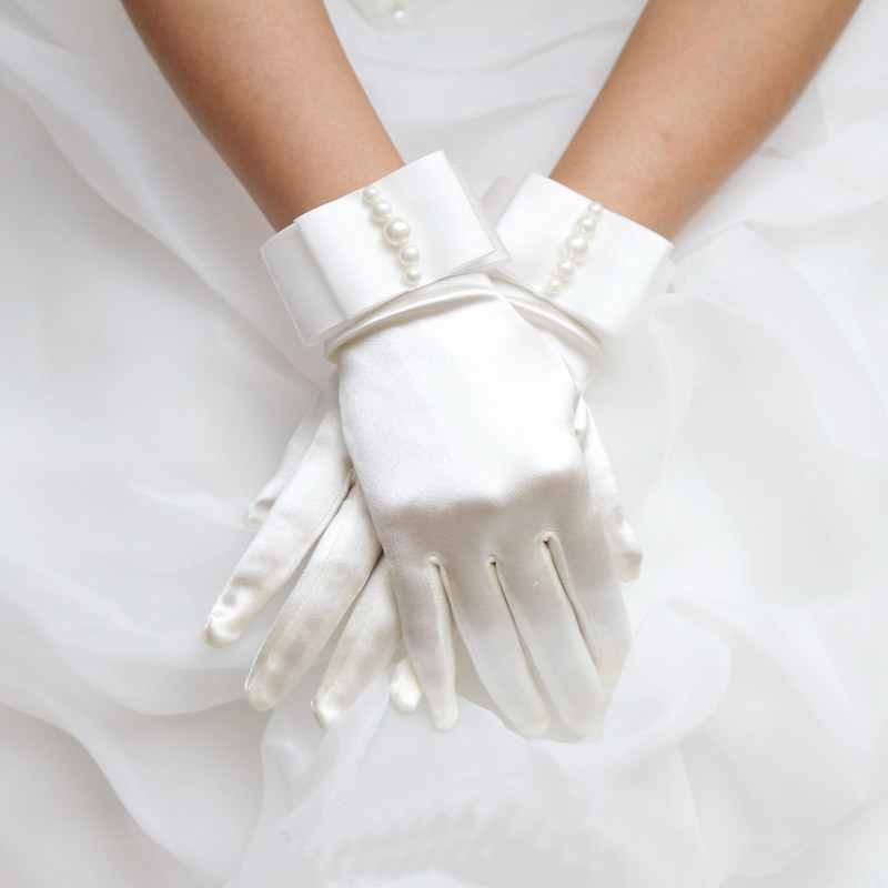 Factory Outlet In stock Hot Sale High Quality white Ivory Elegant Beads Bridal Wedding Gloves Wholesale