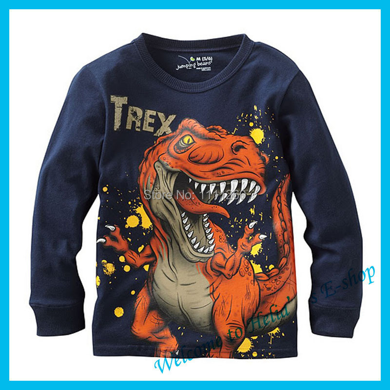 2015 Cartoon Dinosaur T Shirt Boys for Kids Cotton JUMPING BEANS children long-sleeve Baby boy Tshirt Blue Factory Direct sale(China (Mainland))