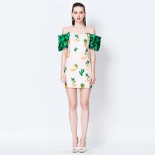 YIGELILA 6617 Latest Pink Pineapple Print Series Slim Dress Surprised Green Sleeve Full Prom Dress Free Shipping