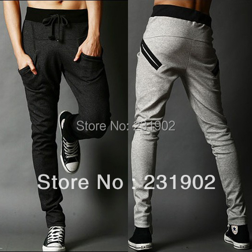 Mens Sports Sweatpants Korean Style Slim Fit Harem Pants Casual Long Trousers Front Tie - MyLovingStyle store