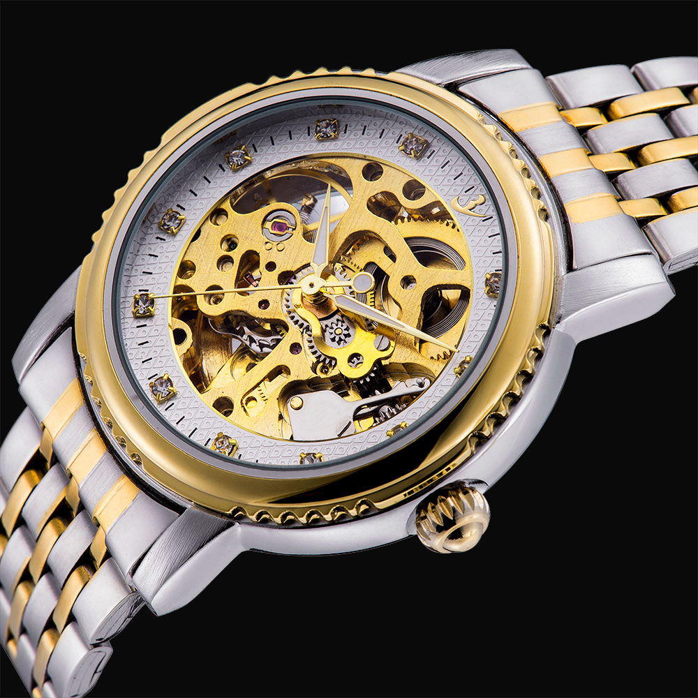 New Men Top Luxury Brand Gold Full Steel Skeleton Automatic self-wind mechanical Relogios Sports Classic Casual Fashion Watches<br><br>Aliexpress
