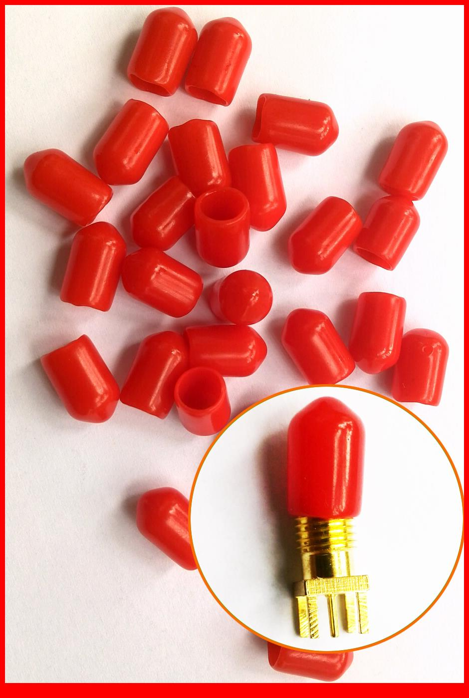 100PCS/lot Diameter of 6mm length 10mm Plastic covers Dust cap Red protective case for RF-SMA Female connector(China (Mainland))