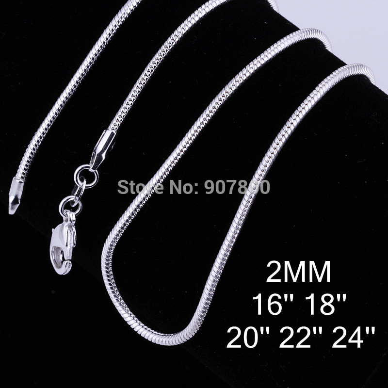 C010 Top silver 2MM (16-24inches) snake chain necklace fashion jewelry free