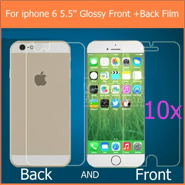 """New 10pairs For iphone 6 plus 5.5"""" HD LCD clear glossy screen protector films guard with 10back+10front+10cloth+10retail package(China (Mainland))"""