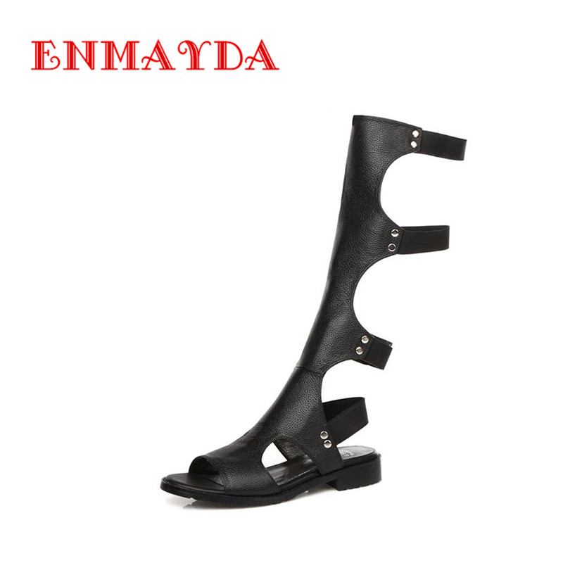 ENMAYDA 2016 Women Sandals Summer Sexy Knee High Boots Elastic band Sandals Women Casual Flats Shoes Designer Boots For Women(China (Mainland))