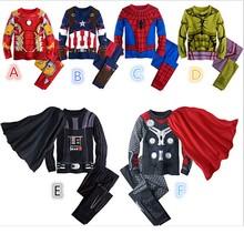 Superhero Kids Cartoon Pajamas Homewear Onesies Star Wars Captain America Spiderman Iron Man Thor Pajamas Shirt Pants