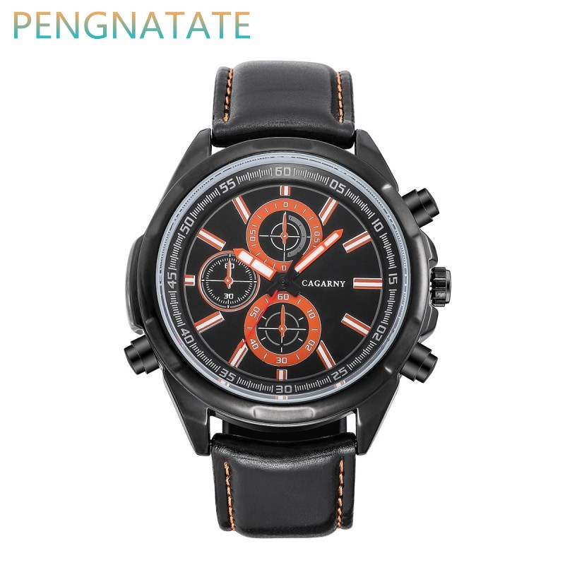 CAGARNY Men High Quality Luxury Waterproof Watch Top Brand Fashion Casual Leather Strap Man Quartz Wristwatch PENGNATATE(China (Mainland))