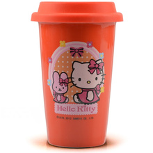 Free shipping 2015 Hot sale ceramic mugs Hello kitty Porcelain cup Women's office coffee cup Tea mug with lid 400ml RED(China (Mainland))
