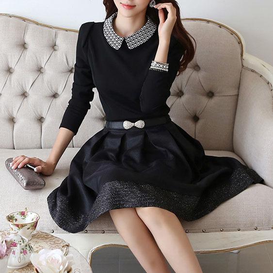 2014 New Fashion Autumn Dress Ladies Favourite Ball Gown Plus Size Elegant Turn-down Collar Long Sleeve Party Dresses WQL1582(China (Mainland))